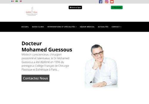 لقطة شاشة لموقع Clinique de chirurgie esthétique et bien être au Maroc بتاريخ 02/06/2021 بواسطة دليل مواقع آوليستس